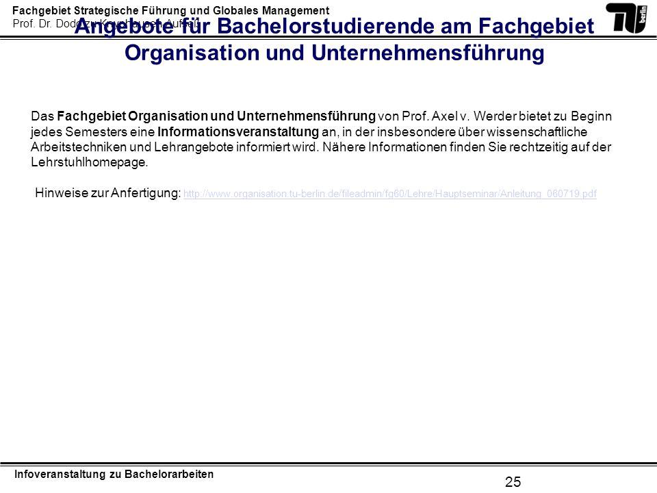 Angebote für Bachelorstudierende am Fachgebiet Organisation und Unternehmensführung