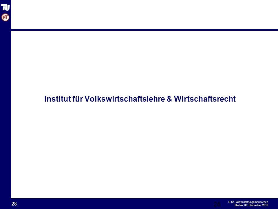 Institut für Volkswirtschaftslehre & Wirtschaftsrecht