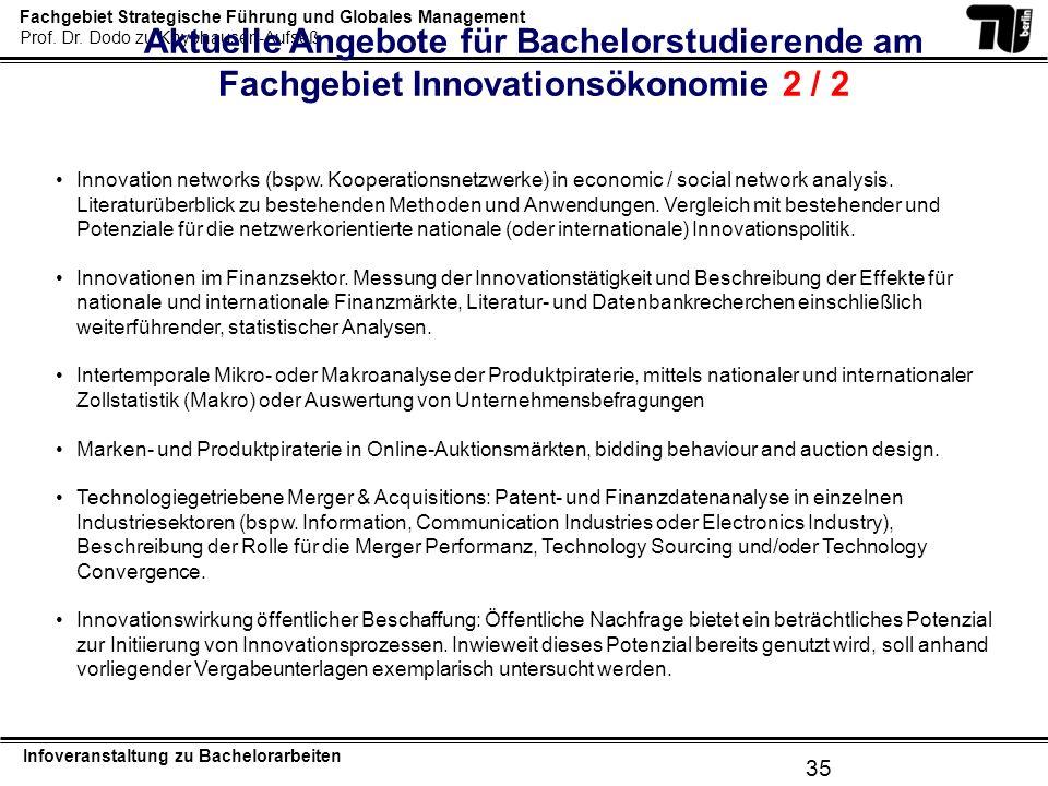 Aktuelle Angebote für Bachelorstudierende am Fachgebiet Innovationsökonomie 2 / 2