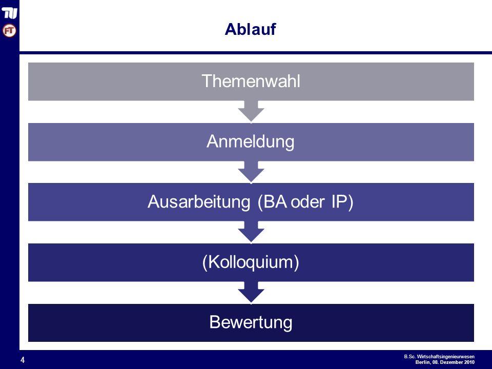 Ausarbeitung (BA oder IP)