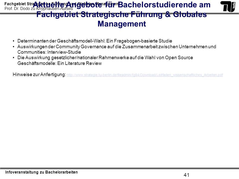 Aktuelle Angebote für Bachelorstudierende am Fachgebiet Strategische Führung & Globales Management