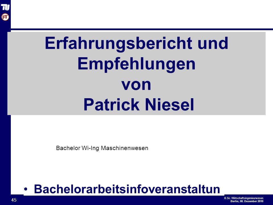 Erfahrungsbericht und Empfehlungen von Patrick Niesel