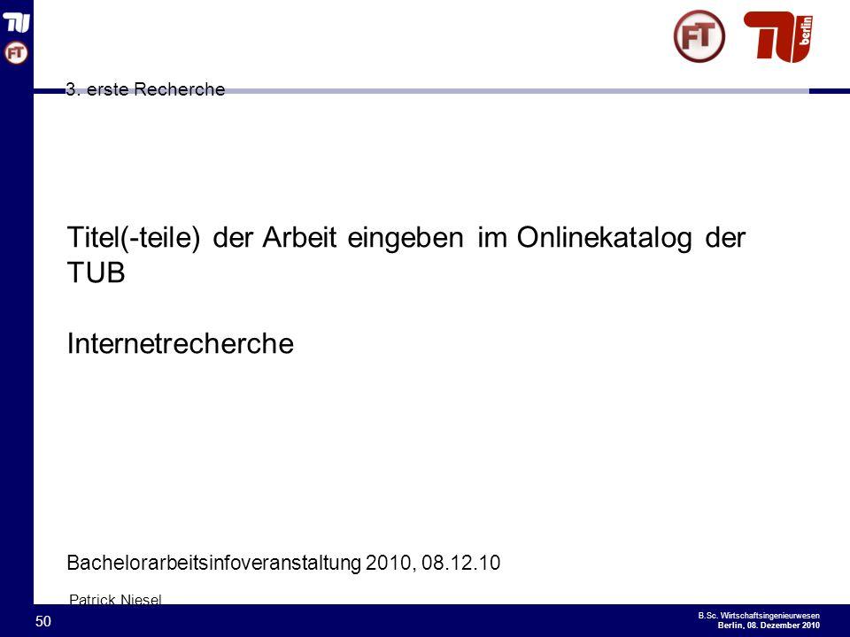 Titel(-teile) der Arbeit eingeben im Onlinekatalog der TUB