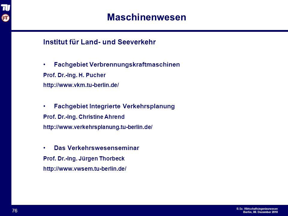 Maschinenwesen Institut für Land- und Seeverkehr