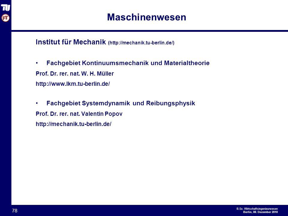 Maschinenwesen Institut für Mechanik (http://mechanik.tu-berlin.de/)