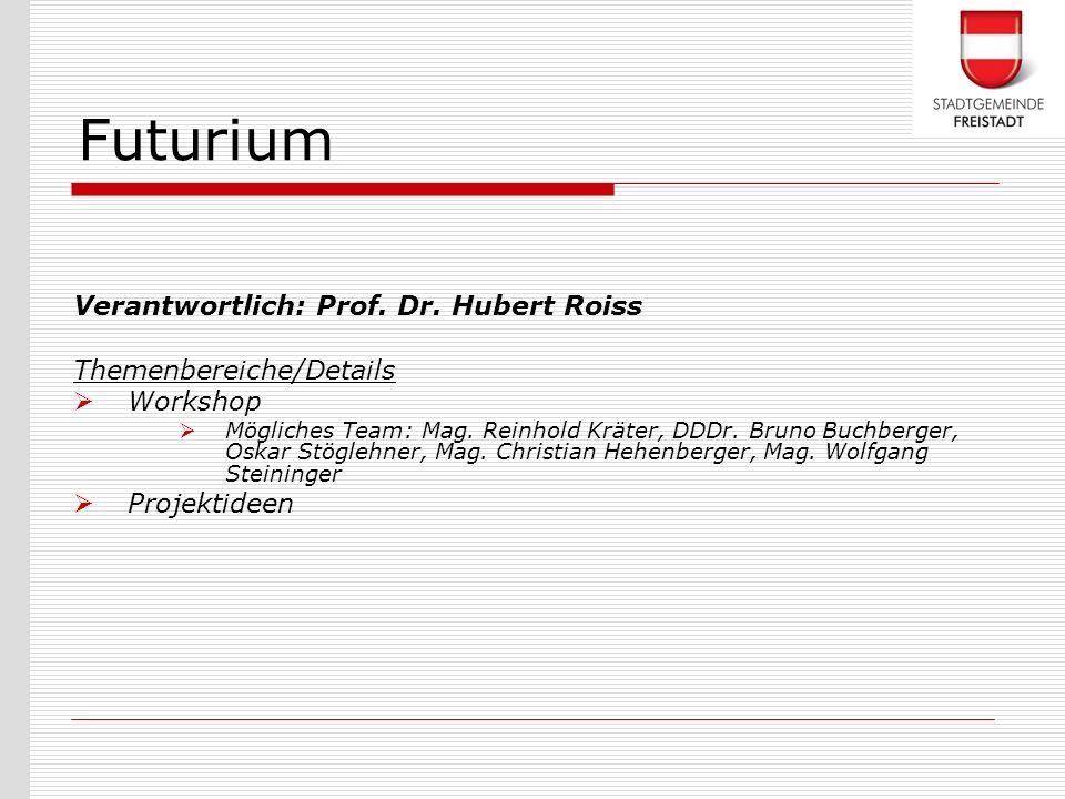 Futurium Verantwortlich: Prof. Dr. Hubert Roiss Themenbereiche/Details