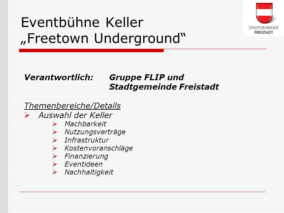 "Eventbühne Keller ""Freetown Underground"