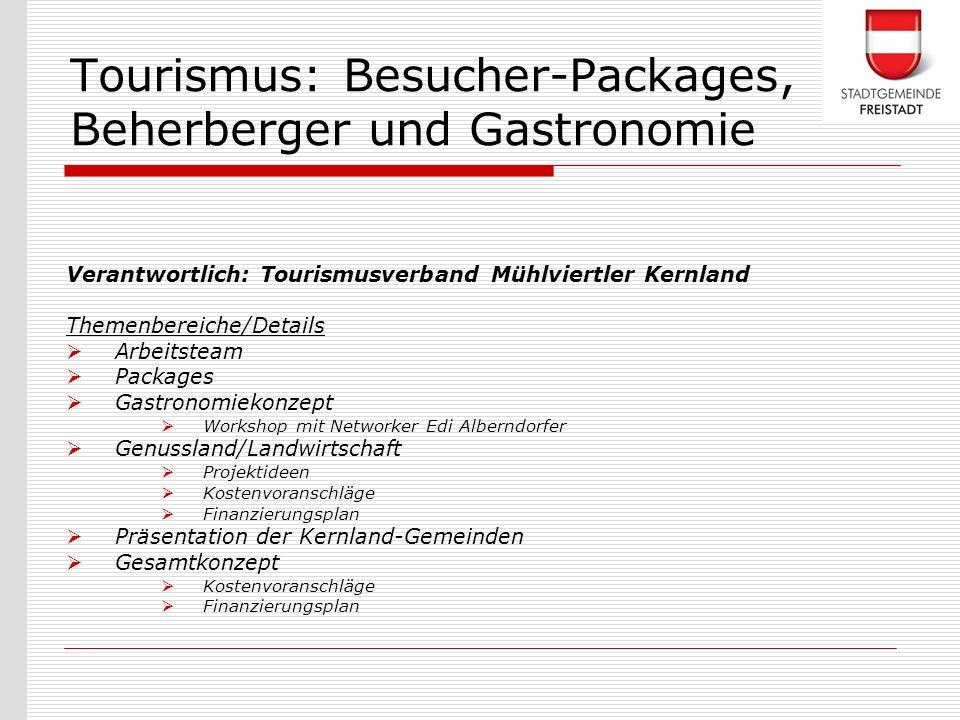 Tourismus: Besucher-Packages, Beherberger und Gastronomie
