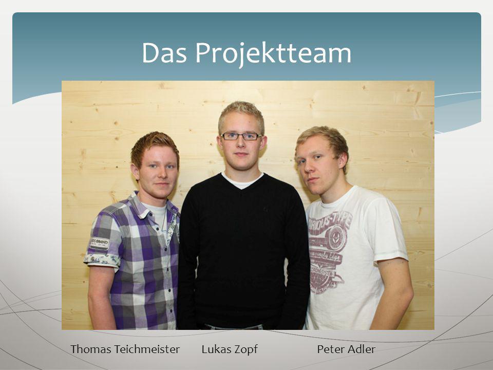 Das Projektteam Thomas Teichmeister Lukas Zopf Peter Adler