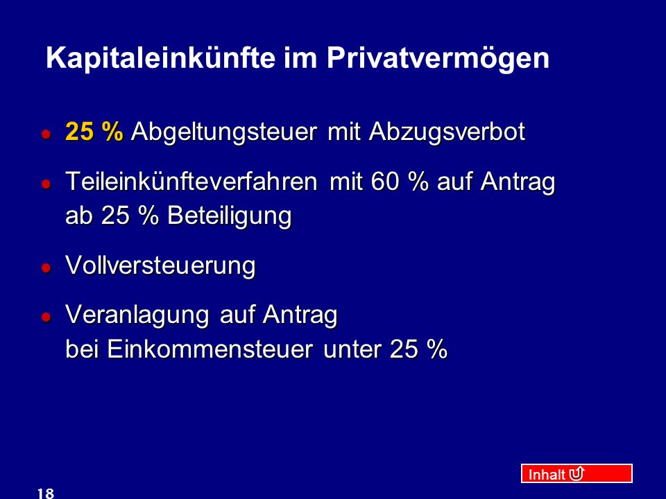 Kapitaleinkünfte im Privatvermögen