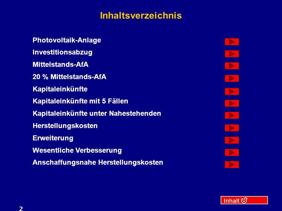 Inhaltsverzeichnis Photovoltaik-Anlage Investitionsabzug