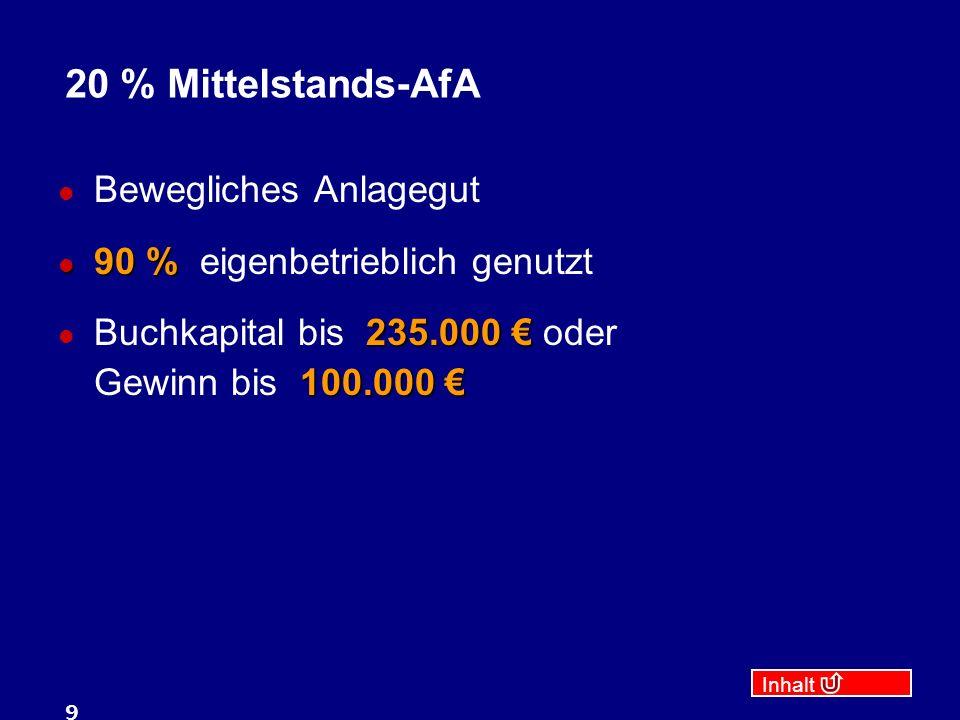 20 % Mittelstands-AfA Bewegliches Anlagegut