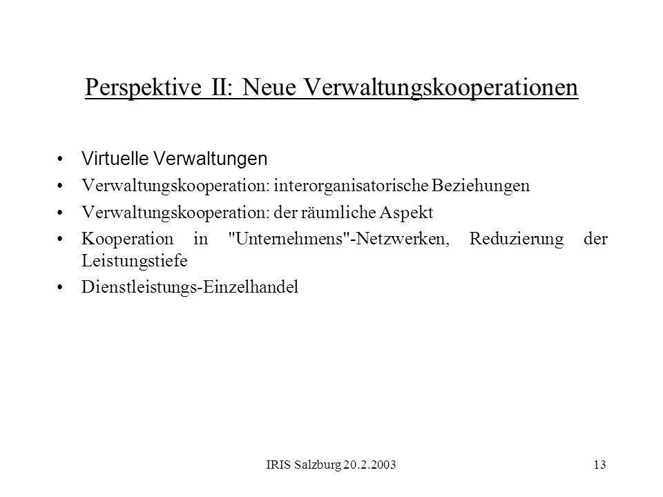 Perspektive II: Neue Verwaltungskooperationen