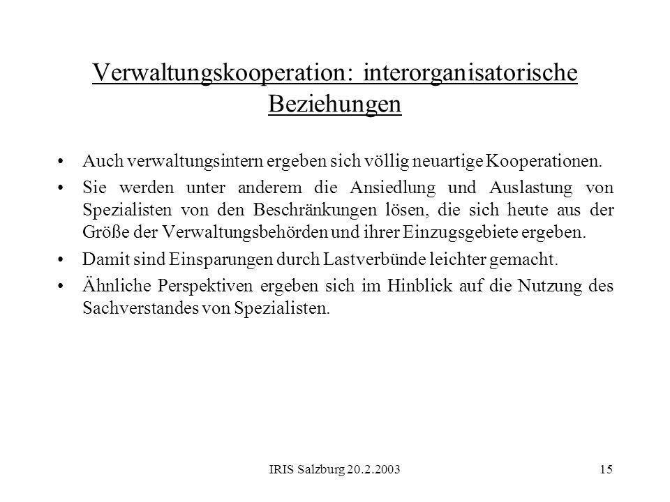 Verwaltungskooperation: interorganisatorische Beziehungen