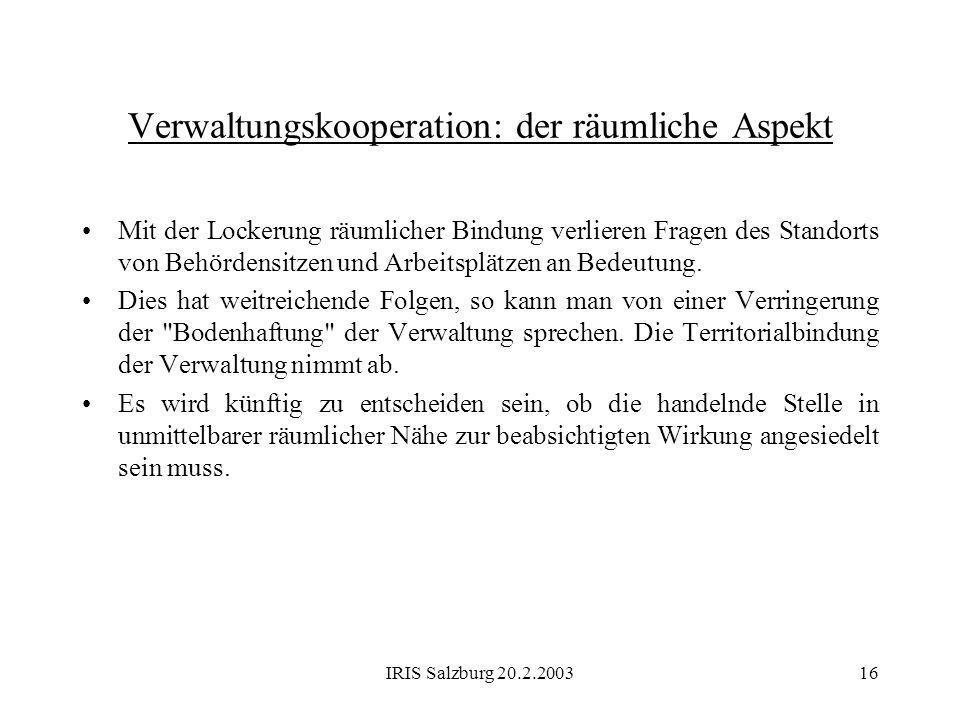 Verwaltungskooperation: der räumliche Aspekt