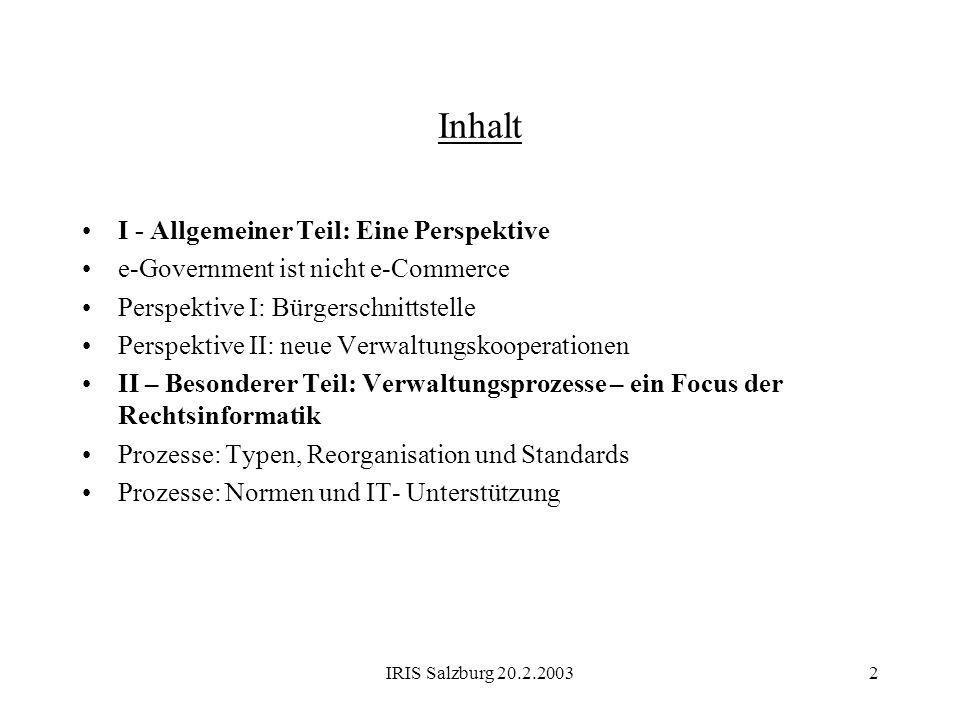 Inhalt I - Allgemeiner Teil: Eine Perspektive