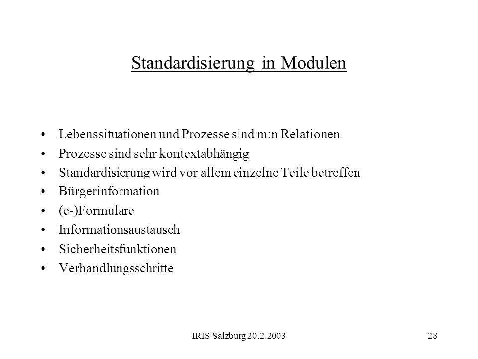 Standardisierung in Modulen