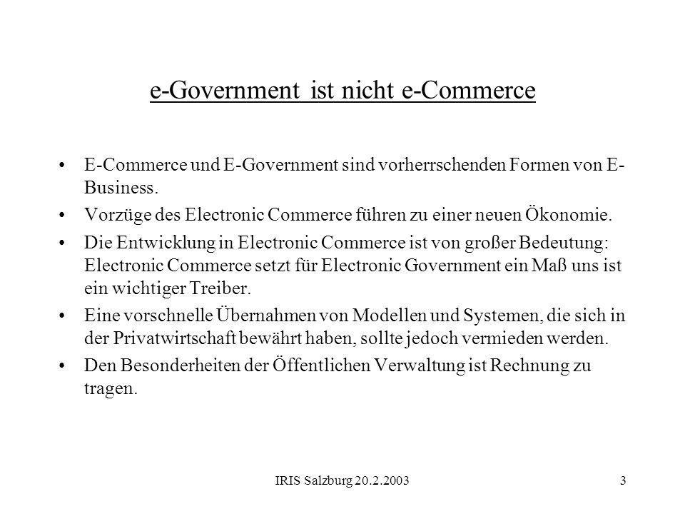 e-Government ist nicht e-Commerce