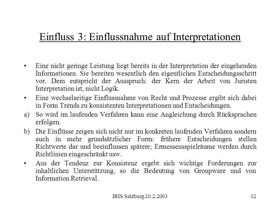 Einfluss 3: Einflussnahme auf Interpretationen