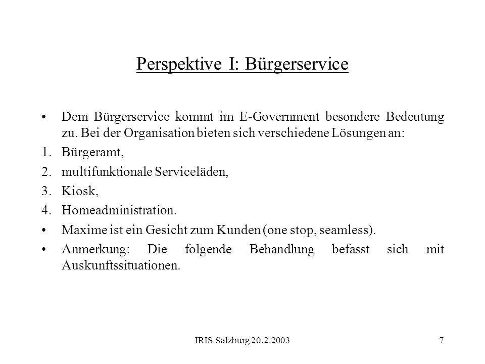 Perspektive I: Bürgerservice
