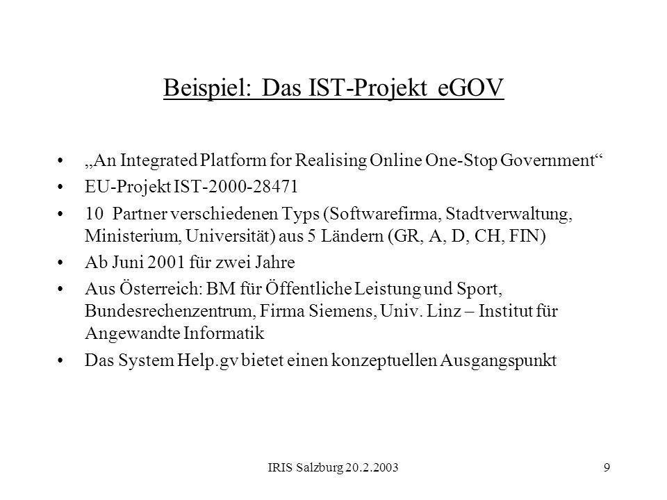 Beispiel: Das IST-Projekt eGOV