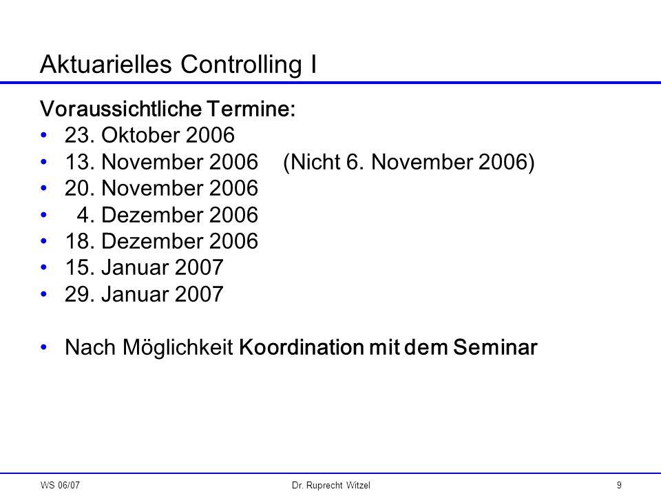 Aktuarielles Controlling I