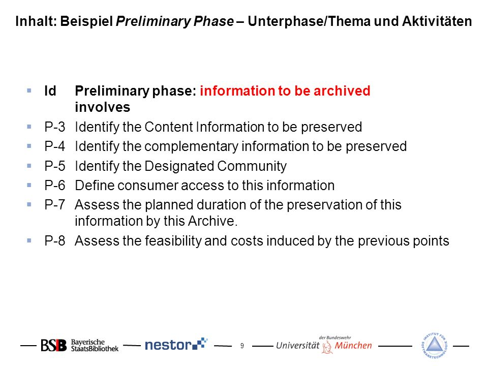 Inhalt: Beispiel Preliminary Phase – Unterphase/Thema und Aktivitäten