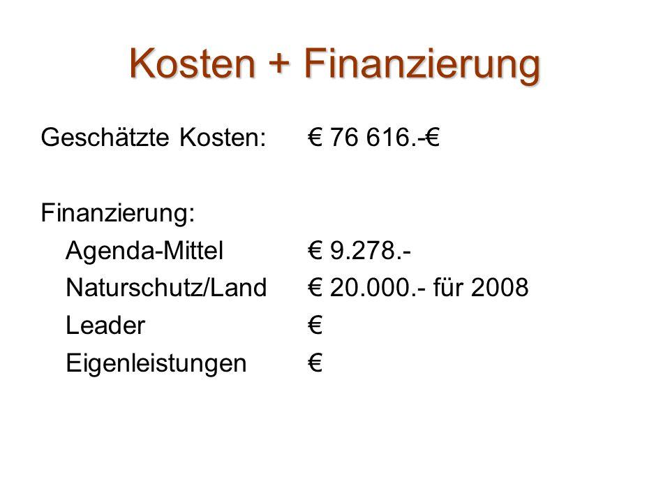 Kosten + Finanzierung Geschätzte Kosten: € 76 616.-€ Finanzierung: