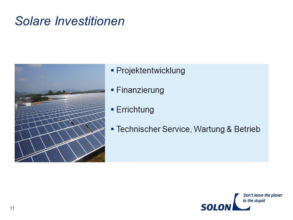 Solare Investitionen Projektentwicklung Finanzierung Errichtung