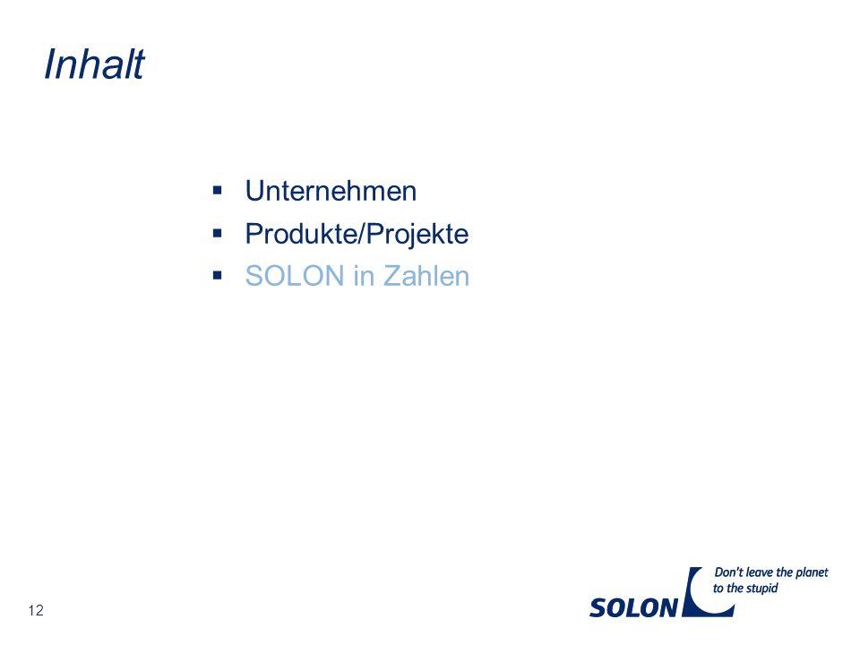 Inhalt Unternehmen Produkte/Projekte SOLON in Zahlen 12