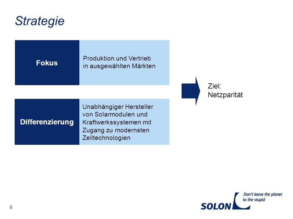 Strategie Fokus Ziel: Netzparität Differenzierung