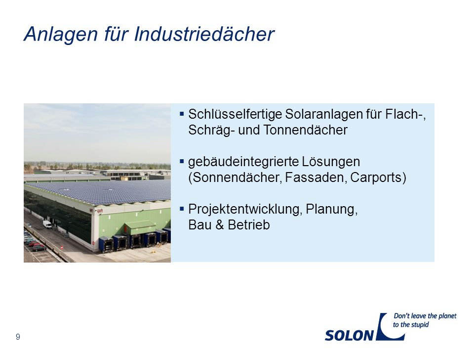 Anlagen für Industriedächer
