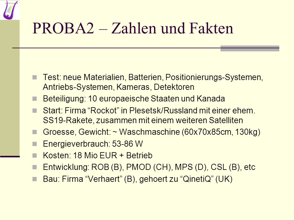 PROBA2 – Zahlen und Fakten