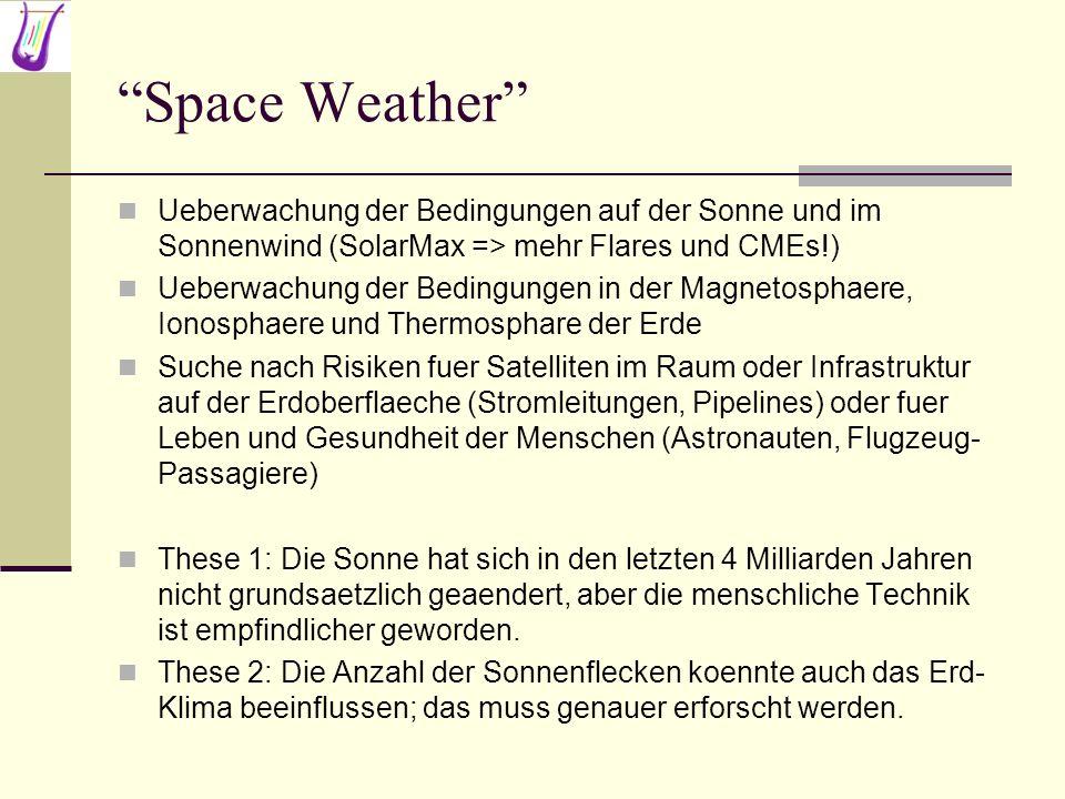 Space Weather Ueberwachung der Bedingungen auf der Sonne und im Sonnenwind (SolarMax => mehr Flares und CMEs!)