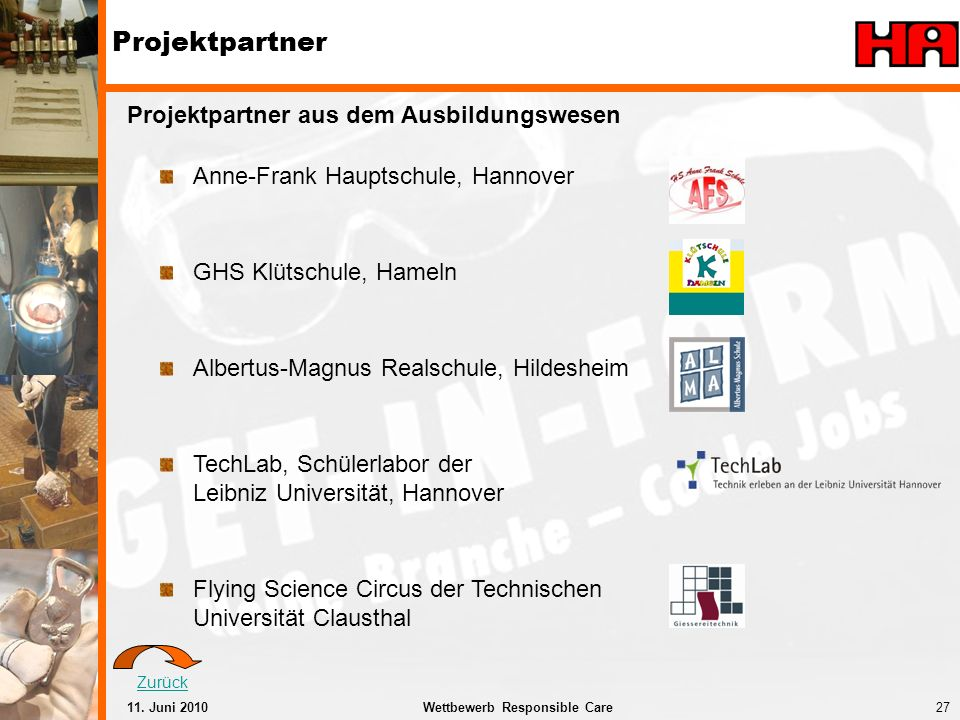 Projektpartner Projektpartner aus dem Ausbildungswesen
