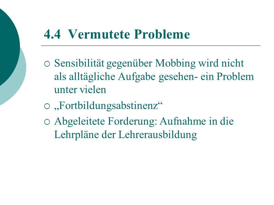 4.4 Vermutete Probleme Sensibilität gegenüber Mobbing wird nicht als alltägliche Aufgabe gesehen- ein Problem unter vielen.