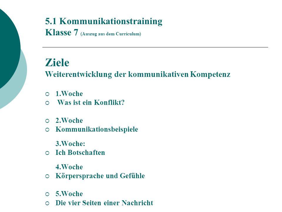 5.1 Kommunikationstraining Klasse 7 (Auszug aus dem Curriculum)