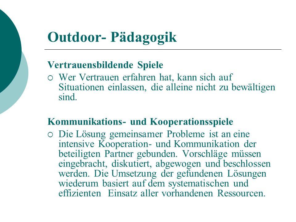 Outdoor- Pädagogik Vertrauensbildende Spiele