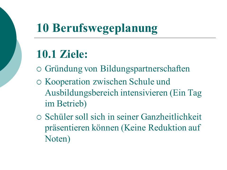 10 Berufswegeplanung 10.1 Ziele: Gründung von Bildungspartnerschaften