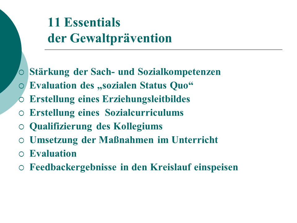 11 Essentials der Gewaltprävention