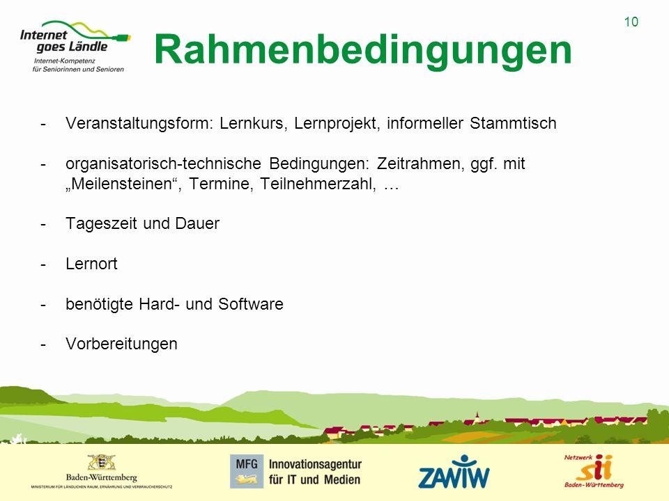 Rahmenbedingungen Veranstaltungsform: Lernkurs, Lernprojekt, informeller Stammtisch.