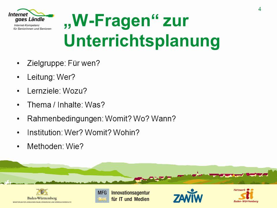 """""""W-Fragen zur Unterrichtsplanung"""