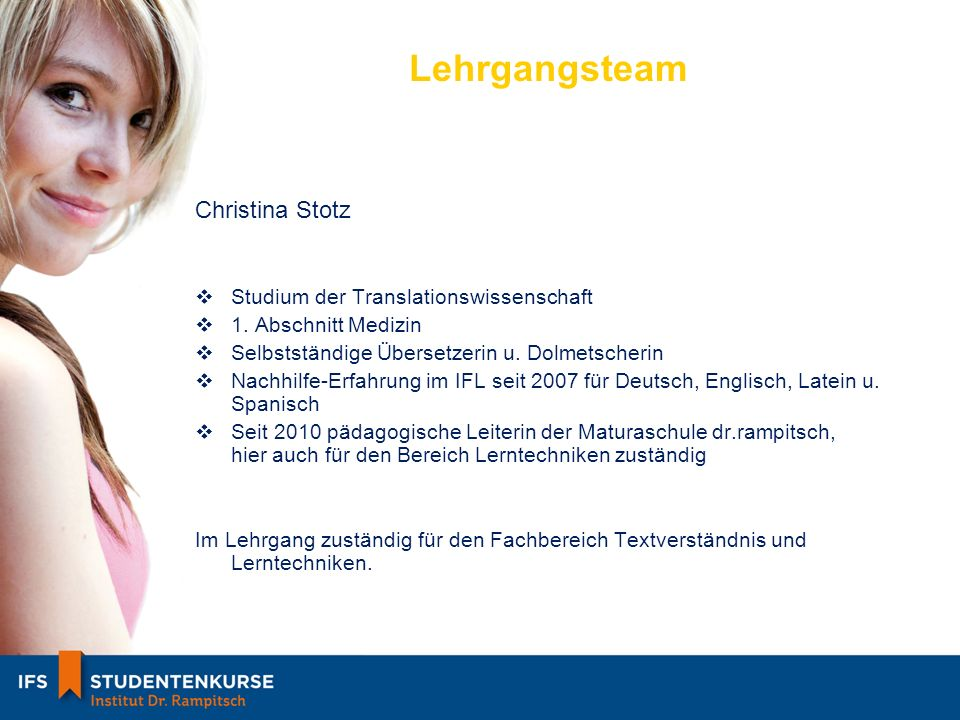 Lehrgangsteam Christina Stotz Studium der Translationswissenschaft