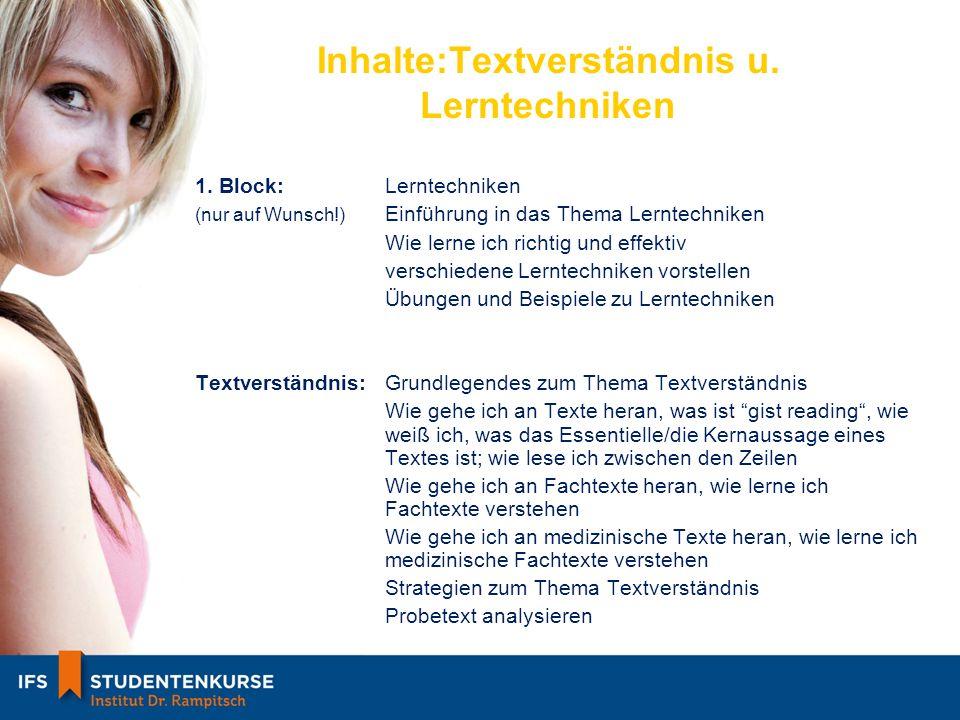 Inhalte:Textverständnis u. Lerntechniken