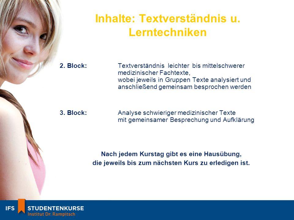 Inhalte: Textverständnis u. Lerntechniken