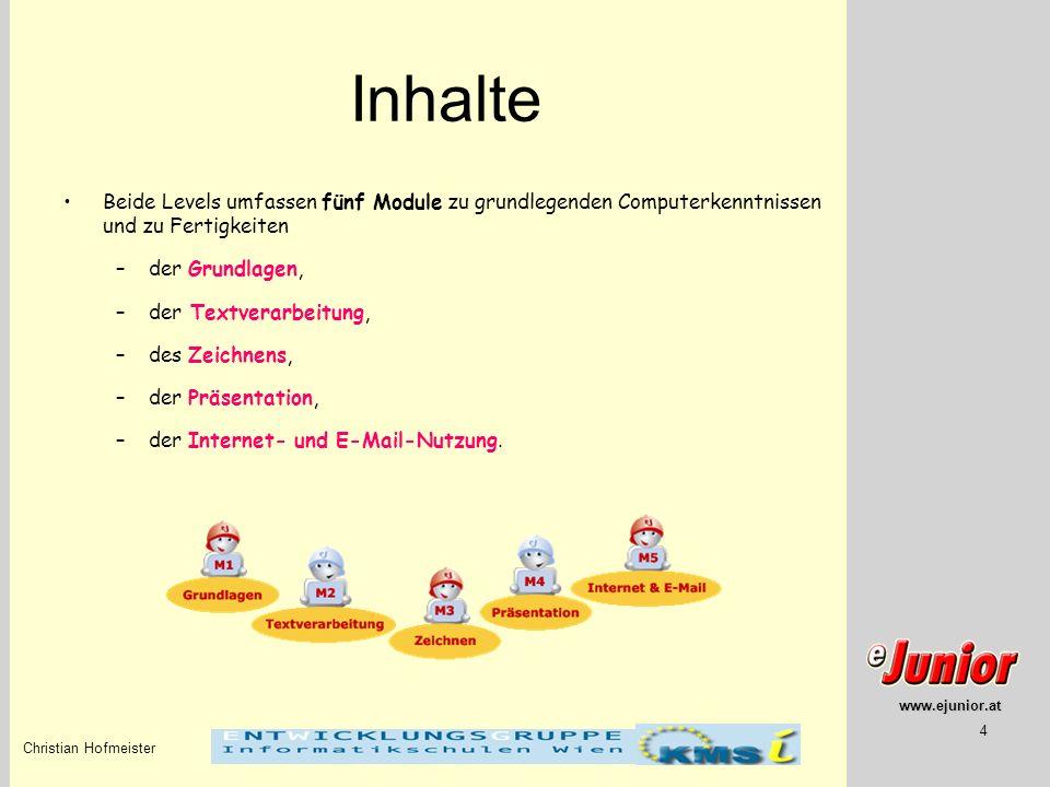 Inhalte Beide Levels umfassen fünf Module zu grundlegenden Computerkenntnissen und zu Fertigkeiten.