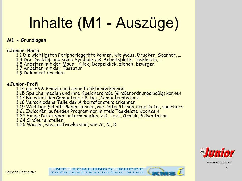 Inhalte (M1 - Auszüge) M1 - Grundlagen