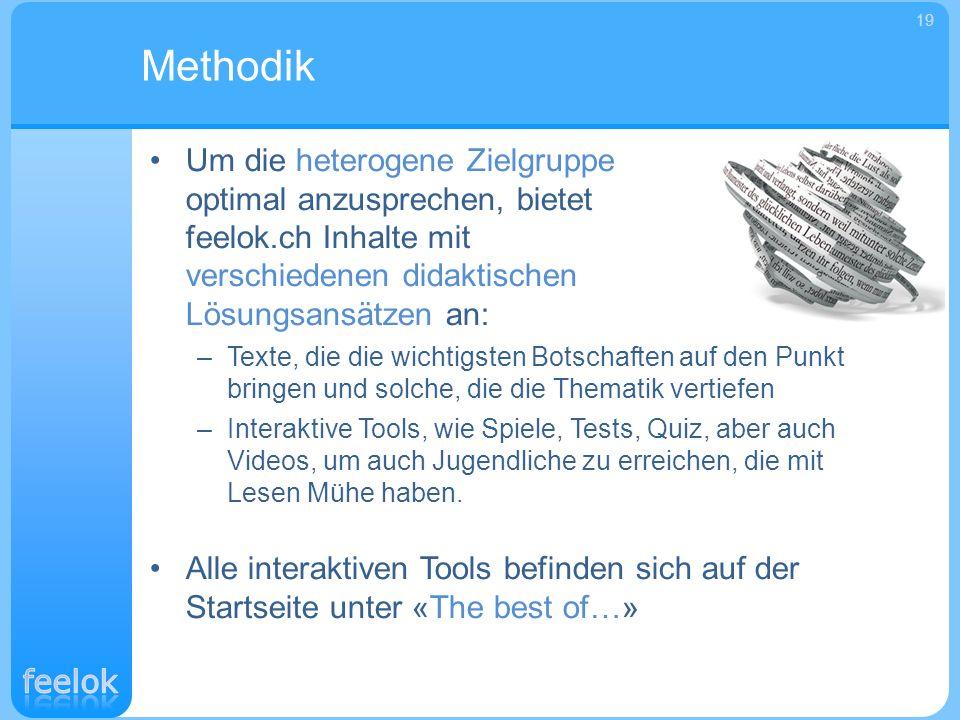 Methodik 19. Um die heterogene Zielgruppe optimal anzusprechen, bietet feelok.ch Inhalte mit verschiedenen didaktischen Lösungsansätzen an: