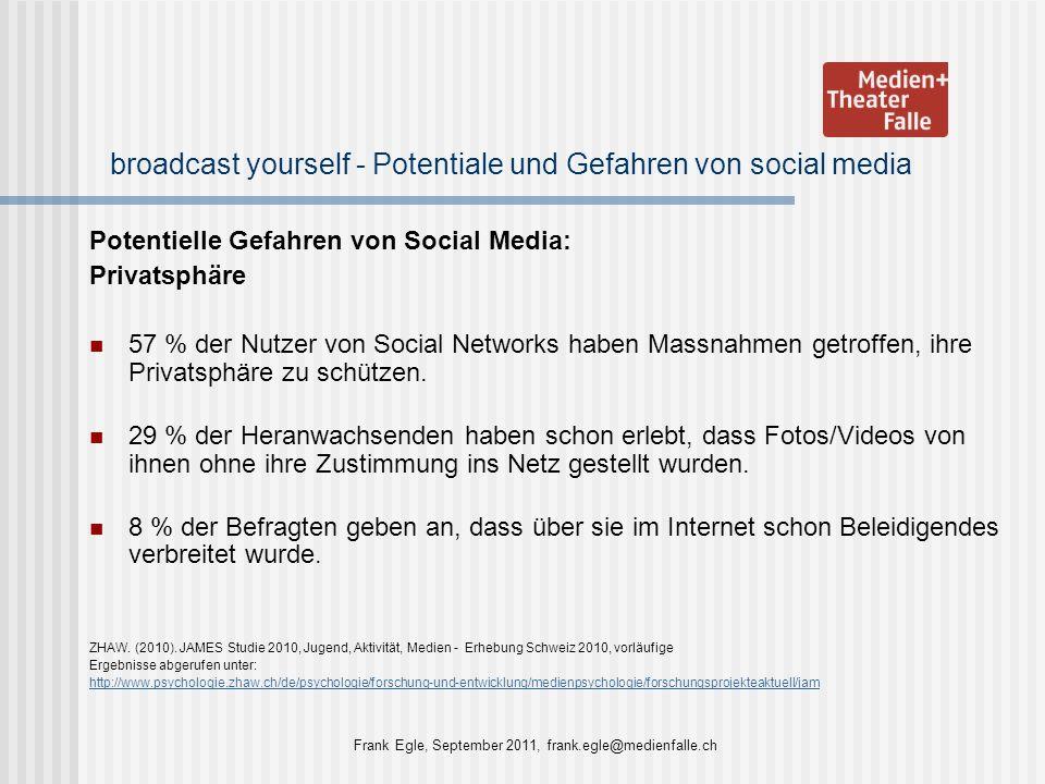broadcast yourself - Potentiale und Gefahren von social media