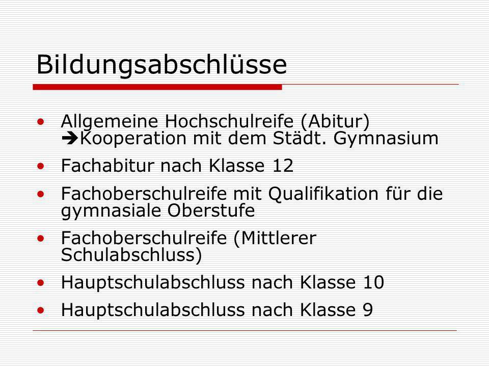 Bildungsabschlüsse Allgemeine Hochschulreife (Abitur) Kooperation mit dem Städt. Gymnasium. Fachabitur nach Klasse 12.